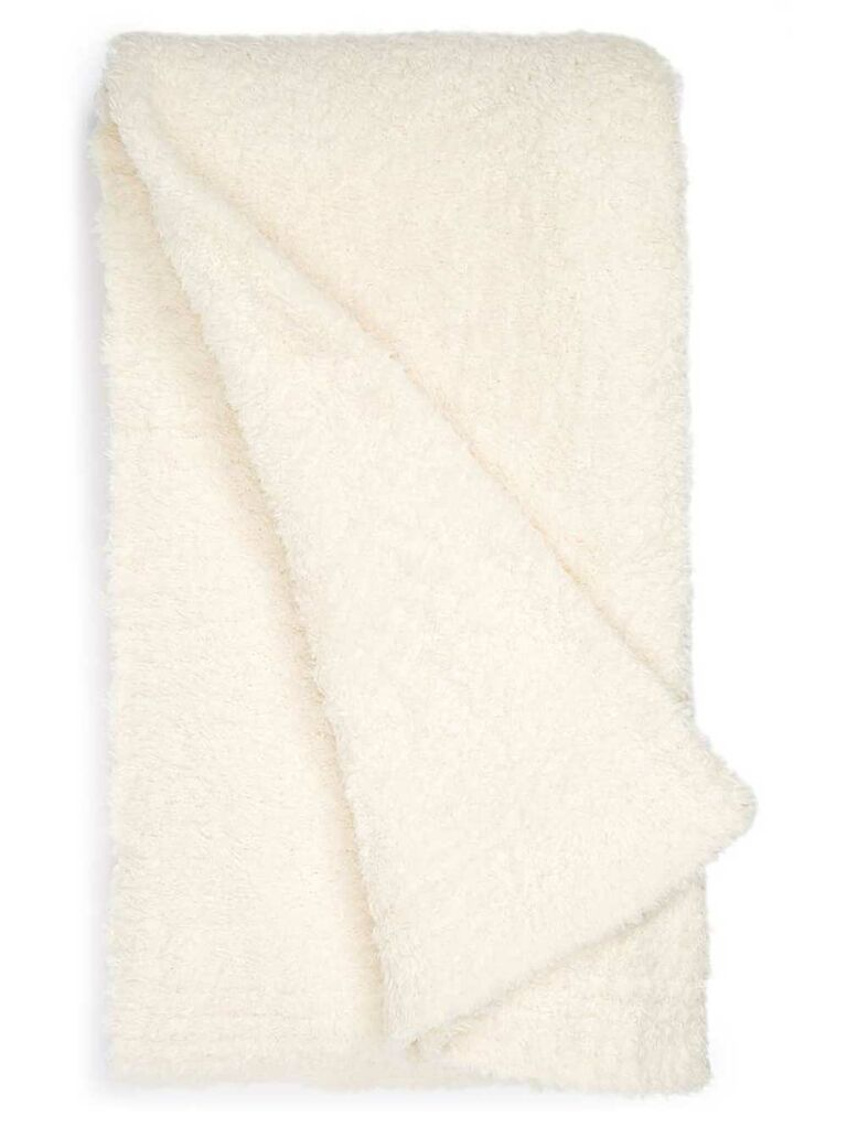 Barefoot Dreams white plush throw blanket