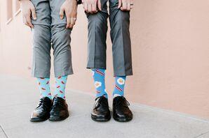 Unique Blue Groom Socks for California Wedding