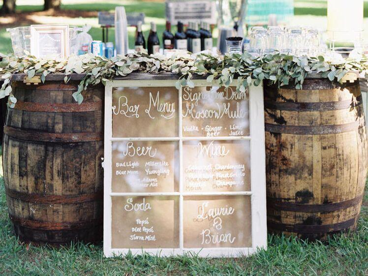 Beer barrels at a wedding