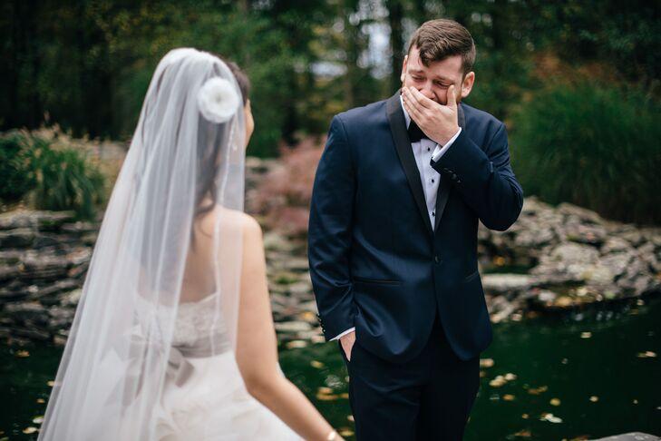 Emotional Groom First Look of Bride