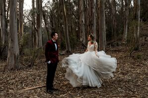Elegant Bride and Groom in Forest