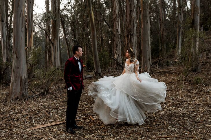 """For their rustic wedding, KayceeYoung and Martin Rydder aimed for a """"dramatic forest feel with a bit of a boho vibe."""" Their venue's location among to"""