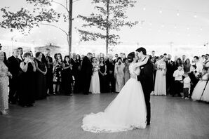 Elegant Bride and Groom First Dance in Classic Dress and Suit