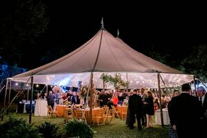 Casual Backyard Reception with Tent and String Lights