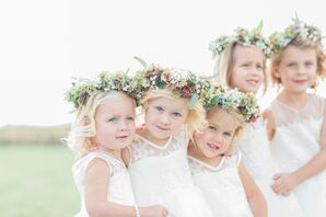 Bohemian Eucalyptus and Hydrangea Flower Girl Crowns