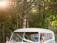 volkswagen bus wedding exit
