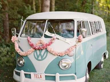 volkswagen bus wedding exit
