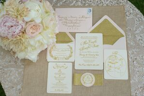 Blush and Ivory Invitations with Gold Calligraphy