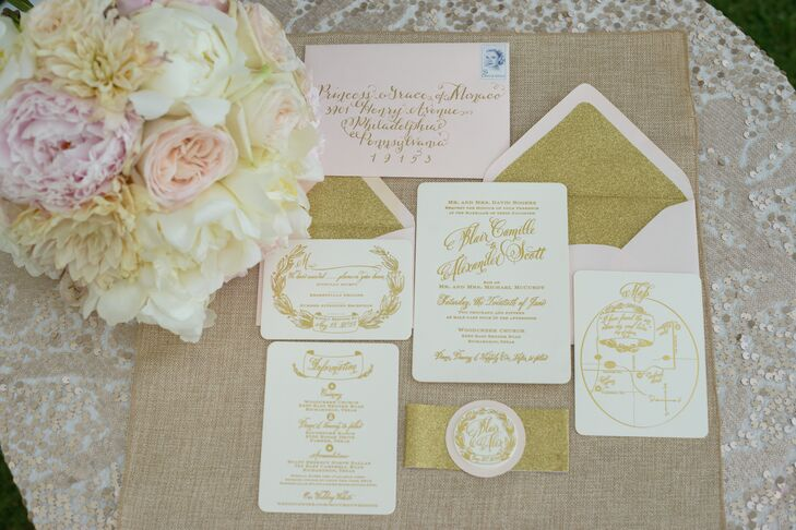 Blair wanted her country wedding to feel elegant, and the gold in this invitation suite definitely delivered that feel! It included blush envelopes lined with glittery gold, whimsical gold calligraphy and laurels on ivory paper and a custom monogram to tie everything together—the whole design was nothing short of stunning.
