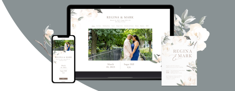 Elegant Garden wedding website design with a matching invitation card