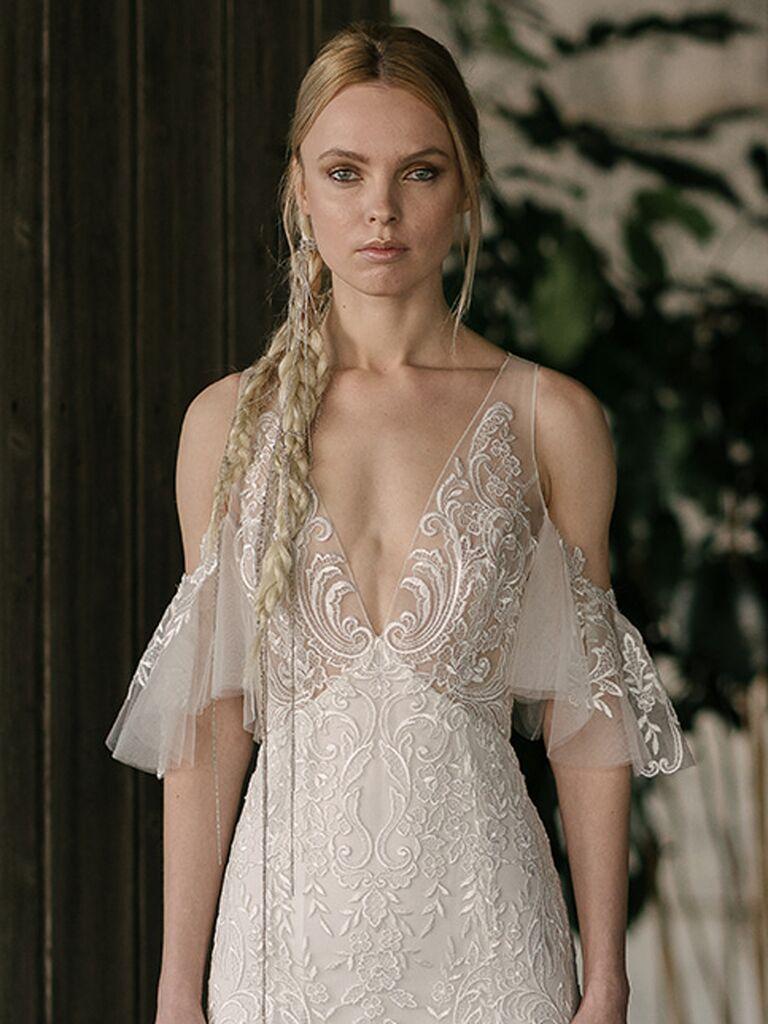 5dd1fe2596c7 Rivini by Rita Vinieris Spring 2019 wedding dress with intriciate embroidery