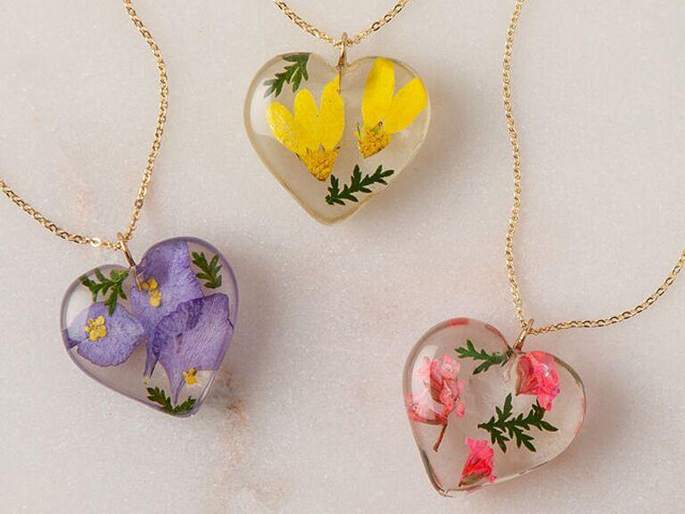 Birth flower necklace wedding gift for bride