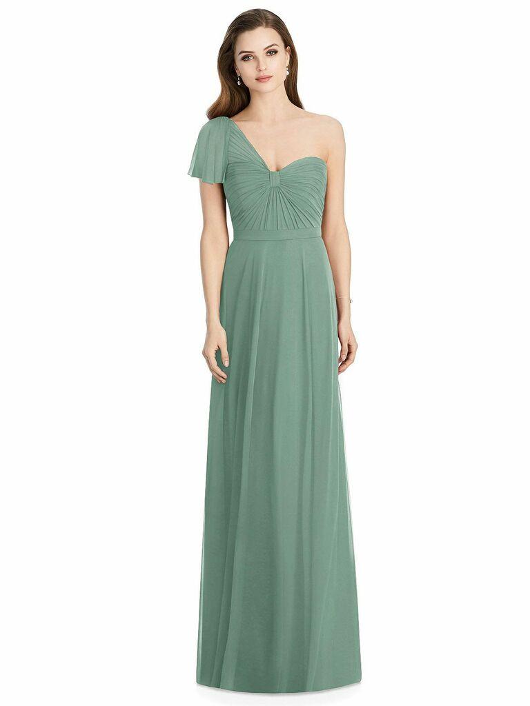 Green one-shoulder Jenny Packham spring bridesmaid dress