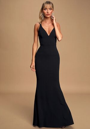 Lulus All this Allure Black Strappy Backless Mermaid Maxi Dress V-Neck Bridesmaid Dress