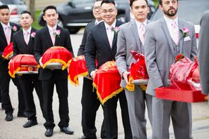 Traditional Red and Gold Cloth-Covered Trays