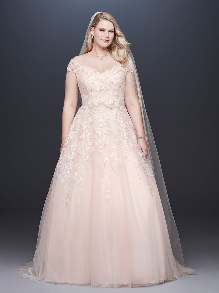 David's Bridal Spring 2019 lace embroidered wedding dress with a blush tulle skirt