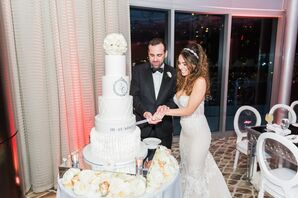 Glam Five-Tier White Cake with Silver Monogram