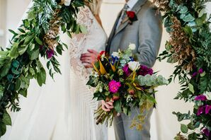 Bohemian Bouquet with Dahlias, Thistle and Wildflowers