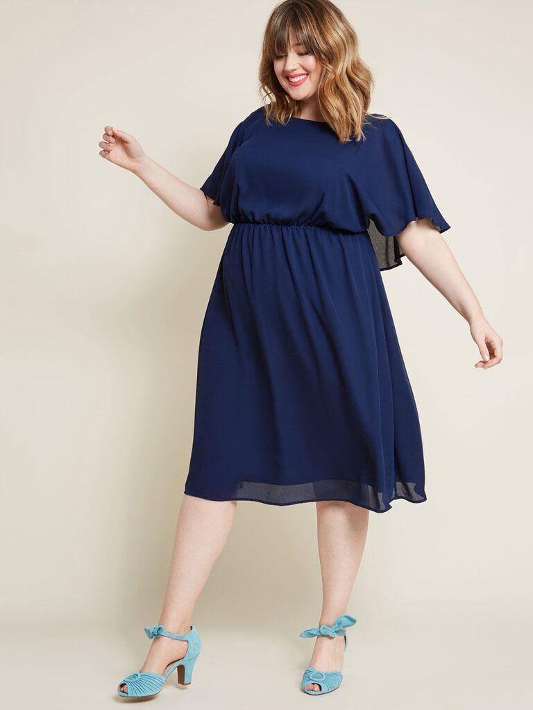 Short navy plus size bridesmaid dress