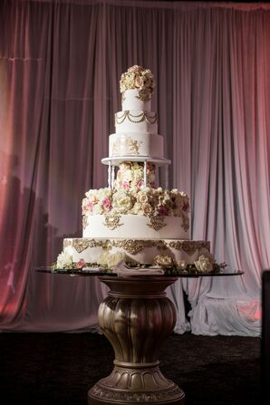 Tall Glamorous Tiered Cake with Gold Design