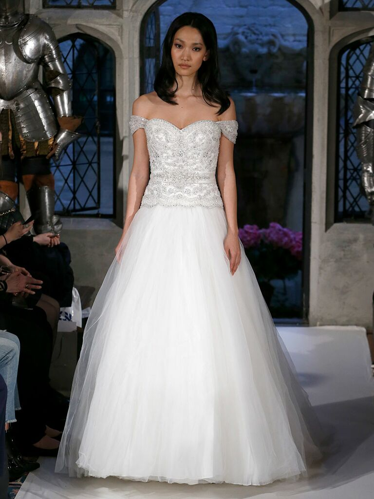 Oleg cassini spring 2018 collection bridal fashion week photos oleg cassini spring 2018 jeweled off the shoulder wedding dress with tulle skirt junglespirit Images