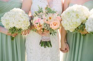 Pink Rose Bridal Bouquet and White Hydrangea Bridesmaid Bouquets
