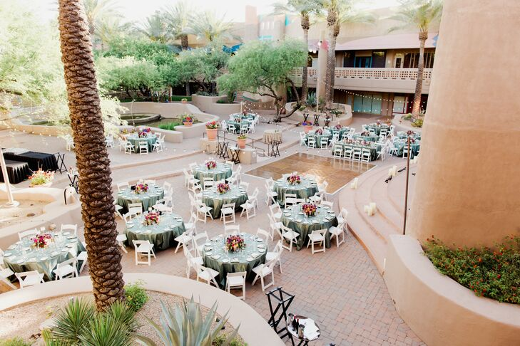 Kelsey and Mason's reception took place outdoors at the same location, at El Pedregal at the Boulders Resort.