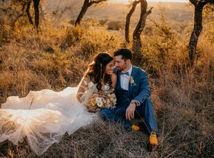 "Devin Duncan and RJ Powell live in Brooklyn, but they traveled to their home state of Texas for a boho wedding at Mae's Ridge. ""The venue is in the mi"