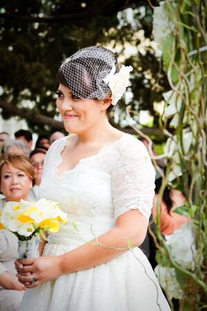 Ivory Birdcage Veil With Fabric Flower
