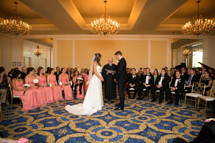 The couple's indoor ceremony was held at the Langham Hotel Boston.