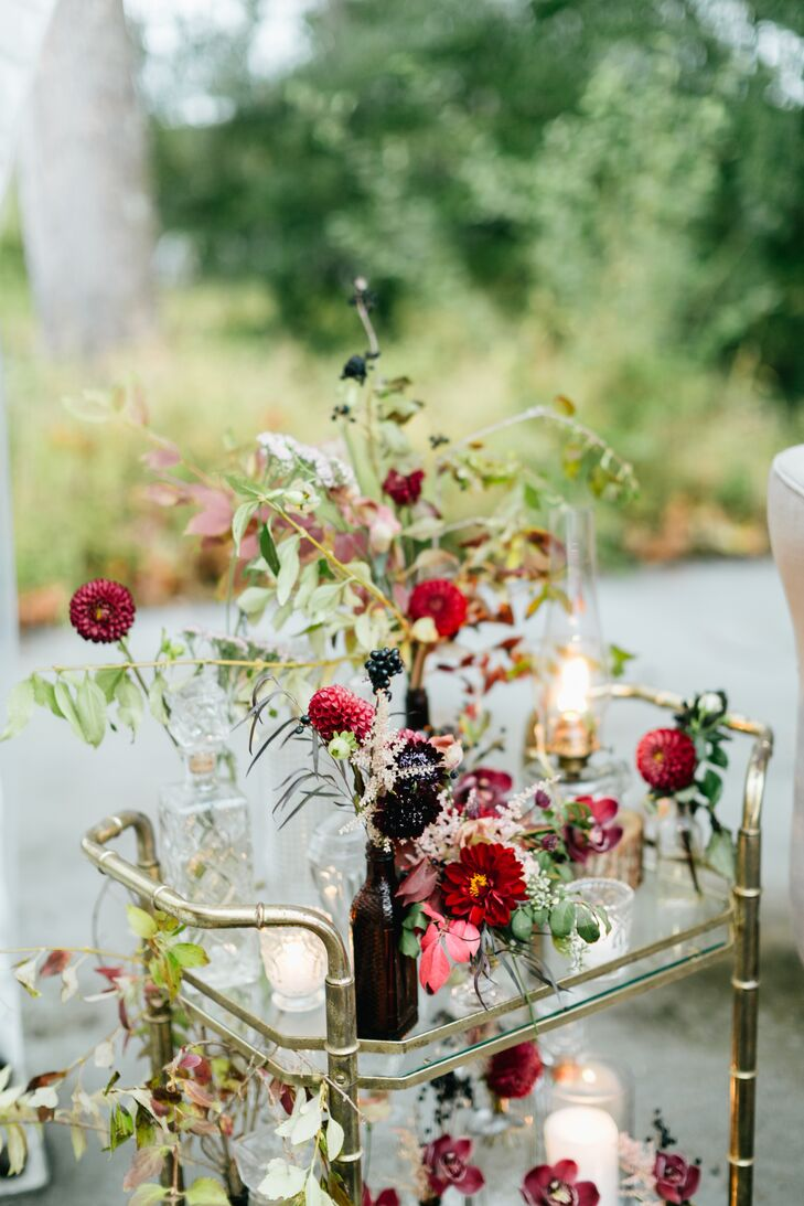 Bar Cart with Fall Blooms and Vintage Décor