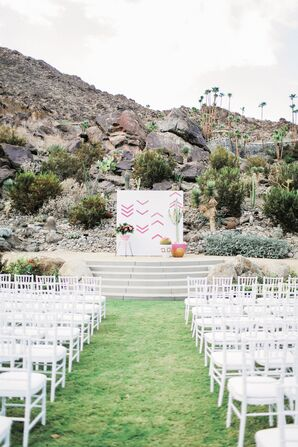 Colorful, Graphic Ceremony Backdrop