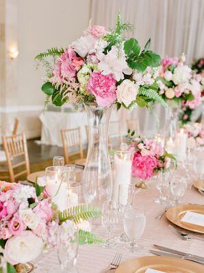 Tall Blush and Pink Garden-Inspired Flower Arrangement