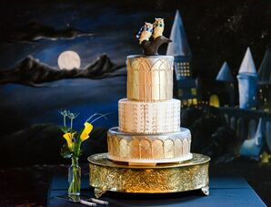Metallic Fondant Cake with Hogwarts Backdrop