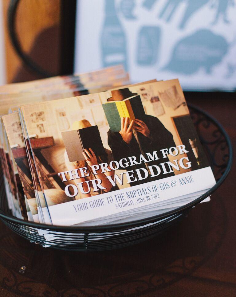 Engagement photo on ceremony program