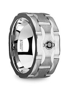 Mens Tungsten Wedding Bands T5420-BGFD Tungsten Wedding Ring