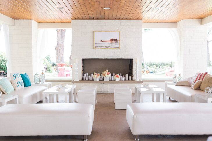 Guests who wanted to stay away from the sand and sun were welcome to go inside for a refreshing drink during cocktail hour. Rows of white modern lounge furniture, couches and short square stools were set up for their family and friends.