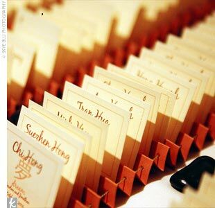 Caroline created escort cards with watermarks of each character, which included beauty, fortune, and strength.