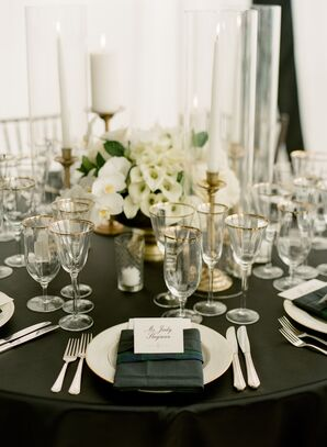 Elegant Black-and-White Place Settings with Plaid Accent