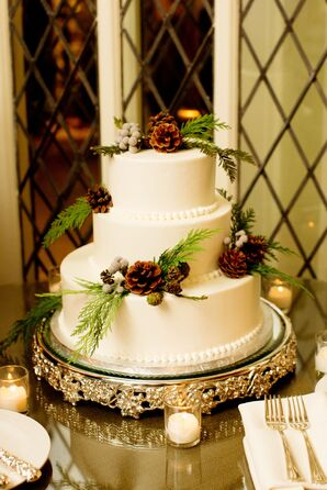 Wintry Pinecone and Silver Brunia Wedding Cake