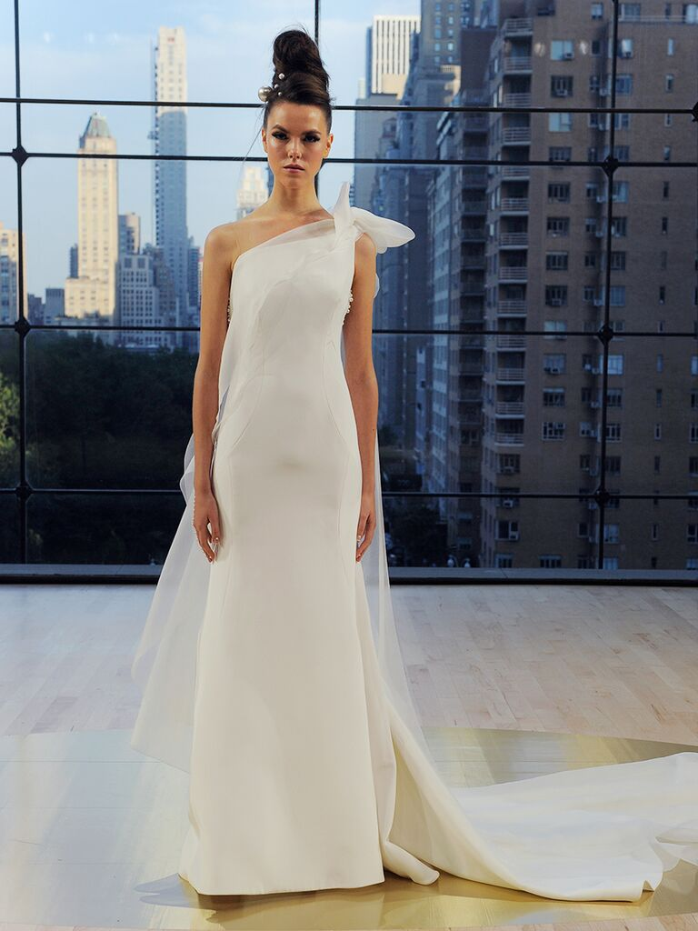 Ines Di Santo Fall 2018 Mercer sheath gown with organza bow cape