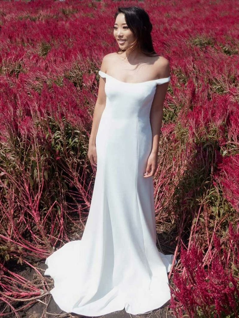 Simple weddng dress with off-the-shoulder neckline