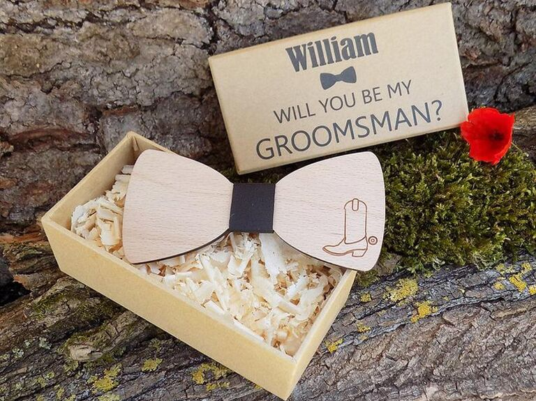 Wooden bowtie groomsmen proposal gift