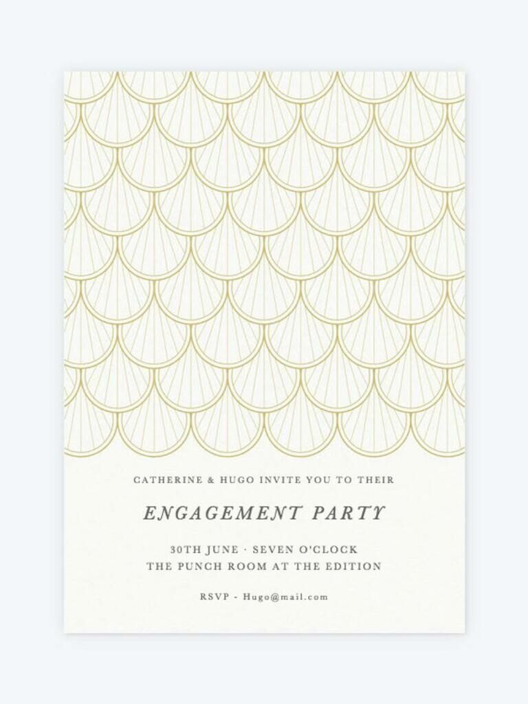 Elegant gold scallop engagement party invitation