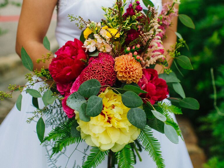 colorful peony wedding bouquet