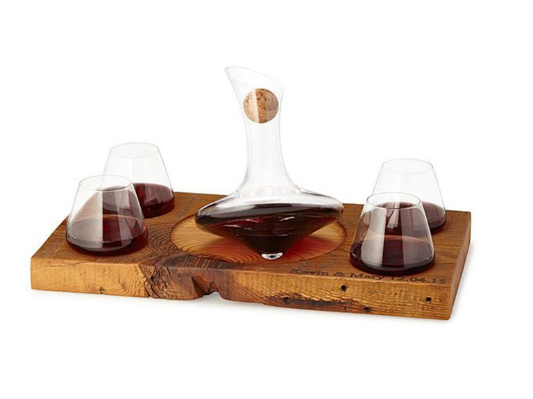 spinning glass decanter set 7th anniversary set
