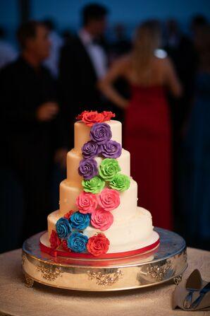 Modern Fondant Wedding Cake with Colorful Flowers