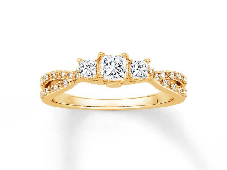Kay princess cut diamond engagement ring in 14K yellow gold