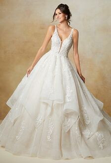 bride in wedding dress with tulle over skirt