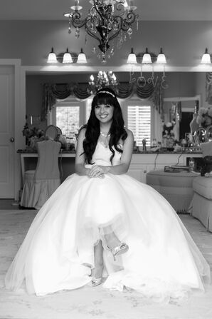Bride in a a Ball Gown with a Full Tulle Skirt